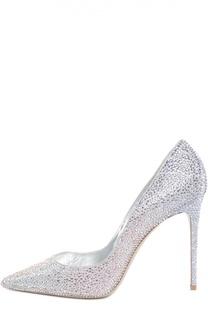 Кожаные туфли с кристаллами на шпильке Le Silla