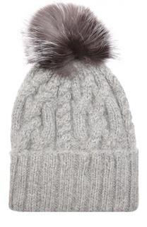 Шерстяная шапка с фактурным узором и меховым помпоном Eugenia Kim