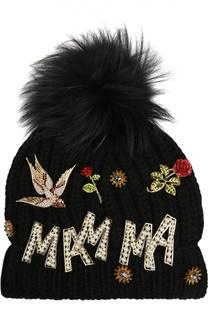 Шапка из кашемира с кристаллами и металлическим декором Dolce & Gabbana