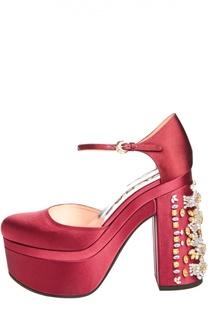 Атласные туфли на декорированном каблуке Rochas