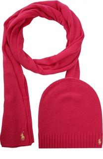 Шарф с шапкой из смеси шерсти и кашемира Polo Ralph Lauren