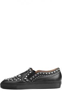 Кожаные слипоны с кристаллами и заклепками Givenchy