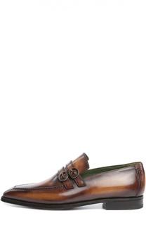 Кожаные лоферы с двумя пряжками Berluti