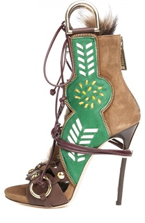 Комбинированные босоножки на шнуровке Dsquared2