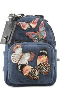 Маленький рюкзак из денима с вышивкой Valentino