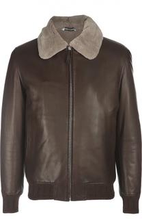 Кожаная куртка-бомбер Andrea Campagna