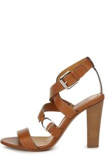 Кожаные босоножки Landry на устойчивом каблуке Ralph Lauren