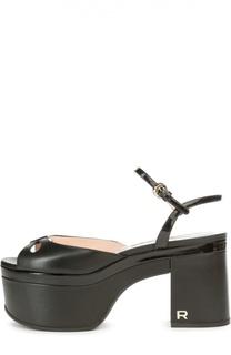 Кожаные босоножки на массивном каблуке Rochas