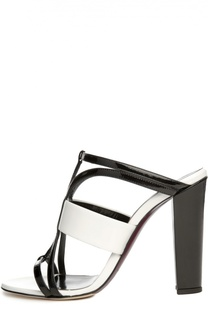 Кожаные босоножки на устойчивом каблуке Oscar de la Renta