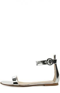Сандалии Portofino из металлизированной кожи Gianvito Rossi
