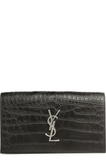 Клатч Monogram Kate с тиснением под крокодила Saint Laurent