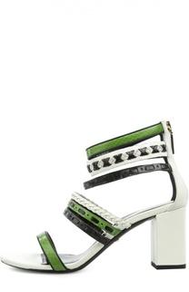 Кожаные босоножки на устойчивом каблуке Roberto Cavalli