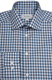 Полуприталенная рубашка в клетку Eton
