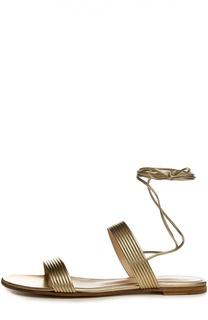 Кожаные сандалии с шнурками на щиколотке Gianvito Rossi
