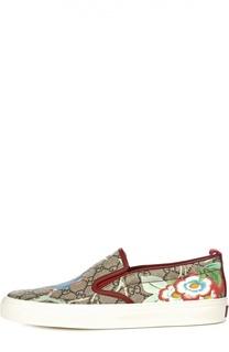 Слипоны Tian с цветочным рисунком Gucci
