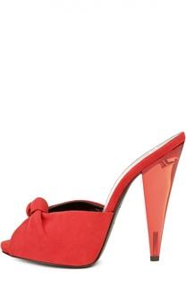 Замшевые сабо на каблуке из плексигласа Giuseppe Zanotti Design