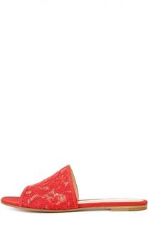 Кружевные шлепанцы с замшевой отделкой Gianvito Rossi