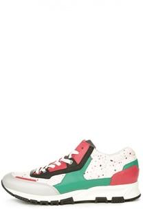 Кожаные кроссовки с принтом Lanvin