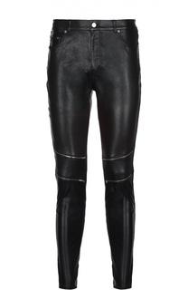 Кожаные брюки skinny с молниями Saint Laurent