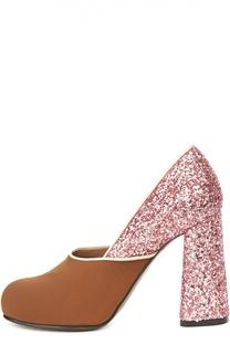 Текстильные туфли с глиттером на фигурном каблуке Marni