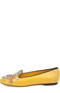 Кожаные лоферы Vally с вышивкой Dolce & Gabbana