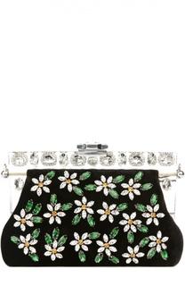 Клатч Vanda из вельвета с вышивкой кристаллами Swarovski Dolce & Gabbana
