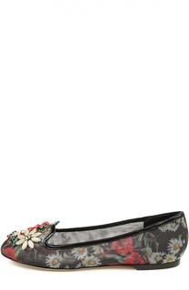 Текстильные лоферы Vally с декором Dolce & Gabbana