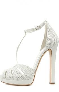 Плетеные босоножки на высоком каблуке Alexander McQueen
