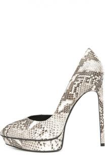 Кожаные туфли Janis с тиснением Saint Laurent