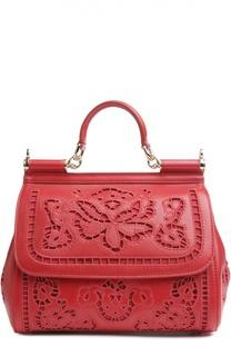 Сумка Sicily medium с прорезной вышивкой и зеркалом Dolce & Gabbana