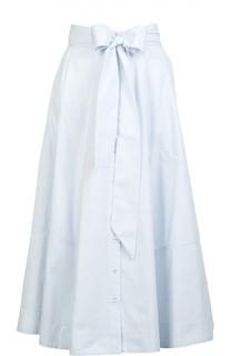 Хлопковая юбка-миди на пуговицах с бантом Lisa Marie Fernandez