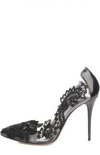 Кожаные туфли Alyssa с кружевом Oscar de la Renta