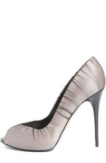 Атласные туфли с открытым мысом Alexander McQueen