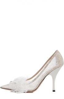 Кружевные туфли с аппликацией Rochas