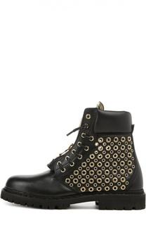 Кожаные ботинки с люверсами Balmain