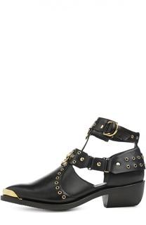 Кожаные ботинки с люверсами и заклепками Balmain