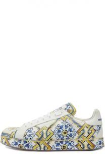 Кожаные кроссовки Lilla с принтом Dolce & Gabbana