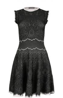 Приталенное мини-платье с кружевным узором Alexander McQueen