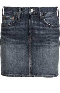 Джинсовая мини-юбка на молнии с контрастной прострочкой Polo Ralph Lauren