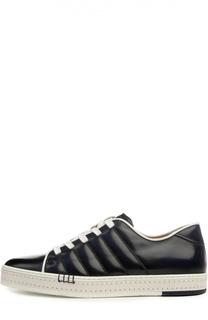 Кеды с контрастной шнуровкой и патинированием Berluti