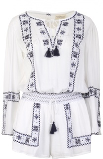 Хлопковый мини-комбинезон с вышивкой и кистями Denim&Supply by Ralph Lauren
