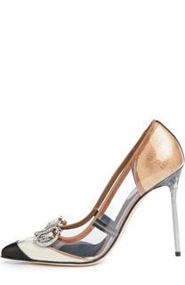 Комбинированные туфли с брошью Balenciaga