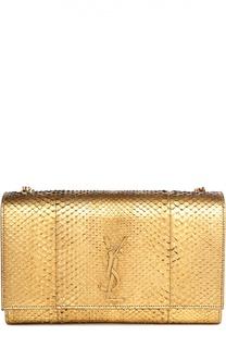 Клатч Monogram из металлизированной кожи питона Saint Laurent