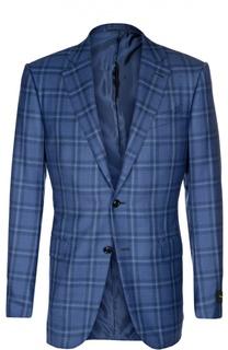 Приталенный пиджак из смеси кашемира с шелком Ermenegildo Zegna