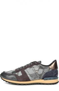 Кроссовки color block с кожаными вставками и принтом Valentino