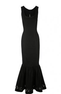 Платье в пол с юбкой годе и кристаллами Alessandra Rich