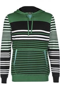 Хлопковый пуловер в полоску с карманом-кенгуру Kiton