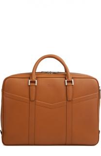 Кожаная сумка для ноутбука с прострочкой Kiton