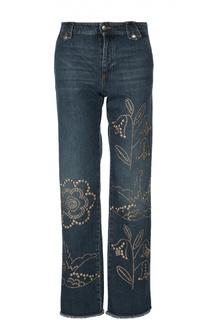 Прямые джинсы с бахромой и заклепками REDVALENTINO