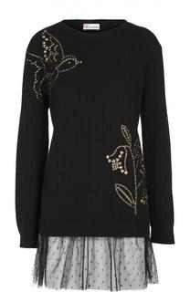 Удлиненный пуловер с кружевной отделкой и заклепками REDVALENTINO
